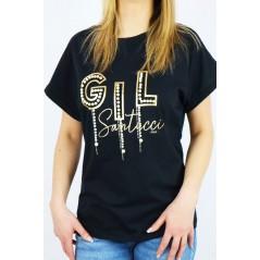 T-shirt damski czarny Babylon ze złotymi napisami