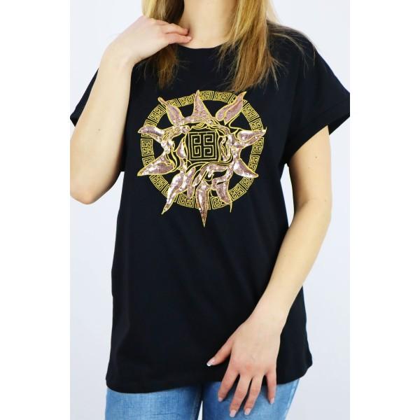 T-shirt damski Babylon z dużą złotą grafiką