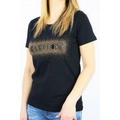 Czarny t-shirt damski Babylon ze złotymi dżetami