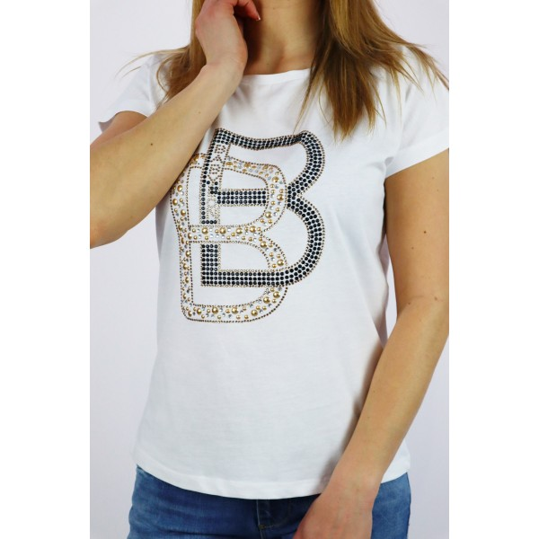 T-shirt damski BABYLON z trójwymiarową literką B
