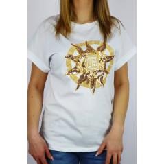 Biały damski t-shirt Babylon ze złotą dużą grafiką