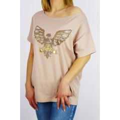 T-shirt damski oversize w kolorze cappucino z grafiką orła