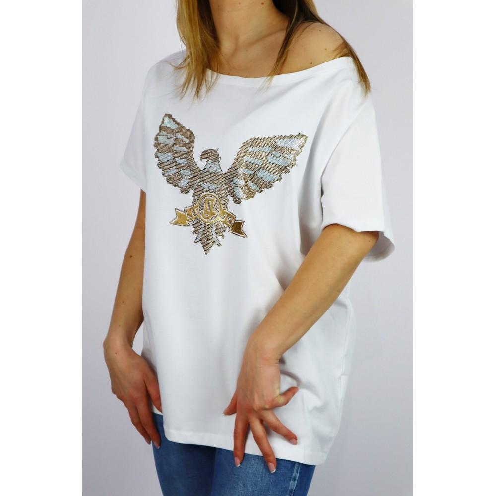 Biały t-shirt damski oversize z grafiką orła