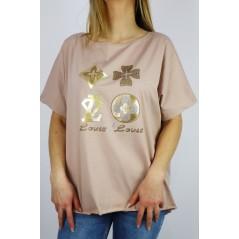 T-shirt damski oversize ze złotymi grafikami Louis Louis