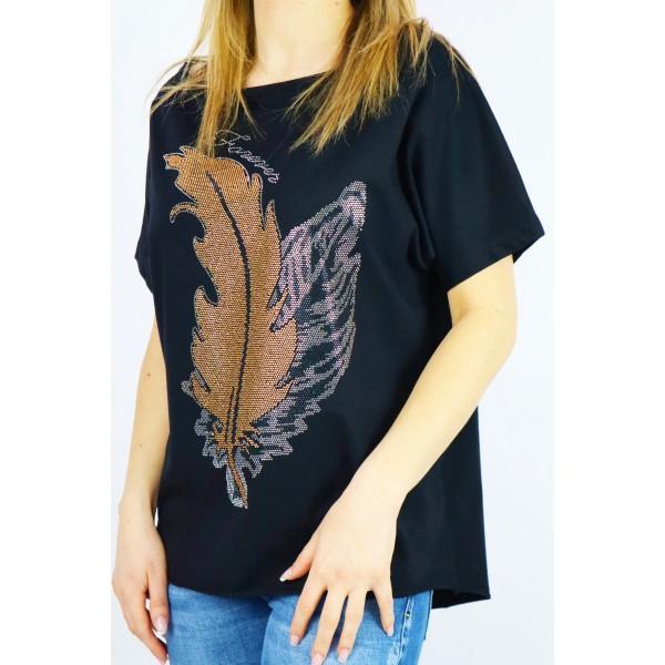 Czarny t-shirt damski oversize z grafikami liści