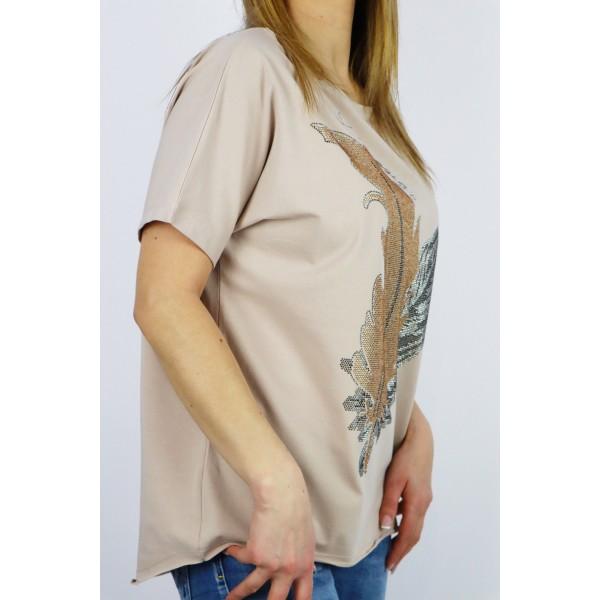 T-shirt damski beżowy oversize z grafikami liści