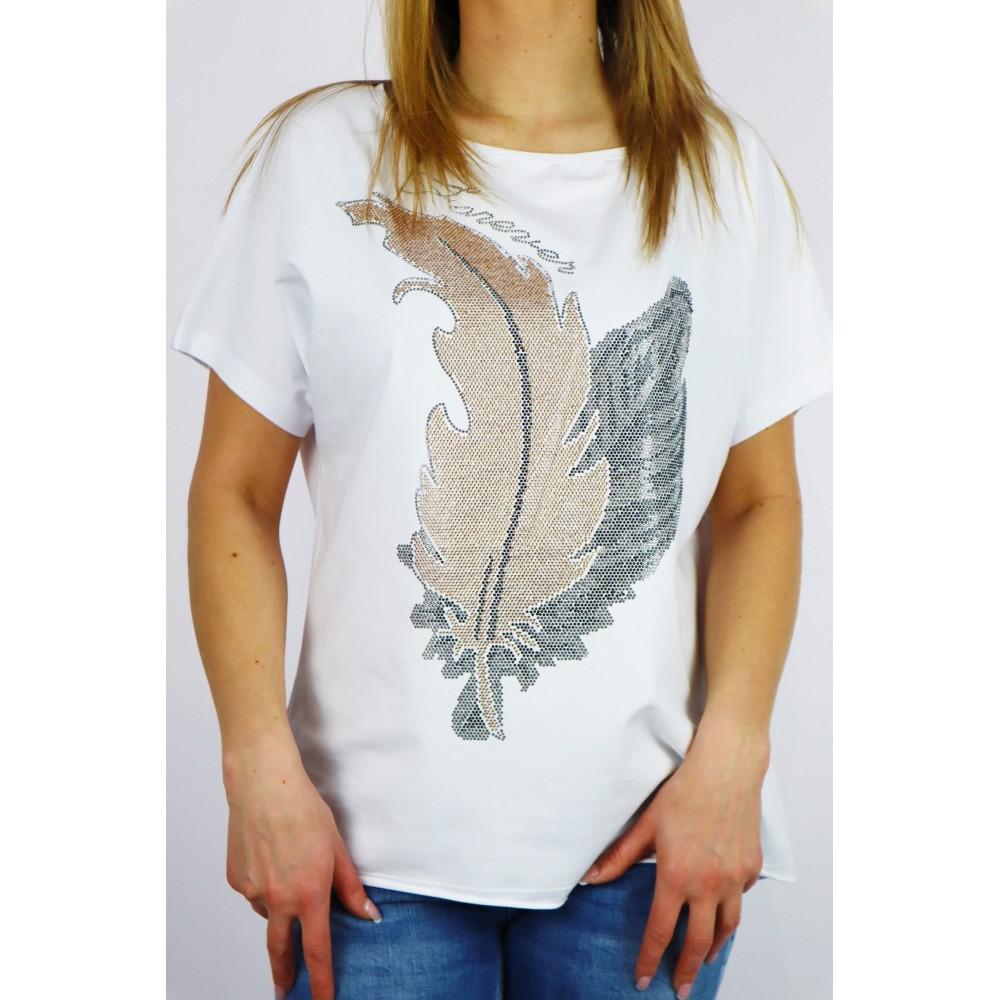 T-shirt damski biały oversize z grafikami liści