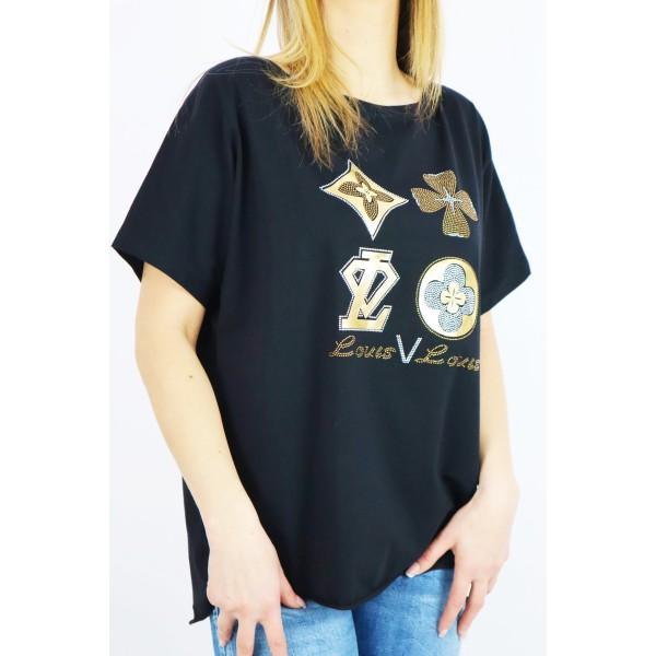 T-shirt damski overisze ze złotymi grafikami Loius Louis