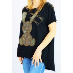 Czarny długi damski t-shirt oversize ze złotym zającem