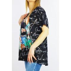 Czarny długi t-shirt damski oversize z napisami i kolorową grafiką