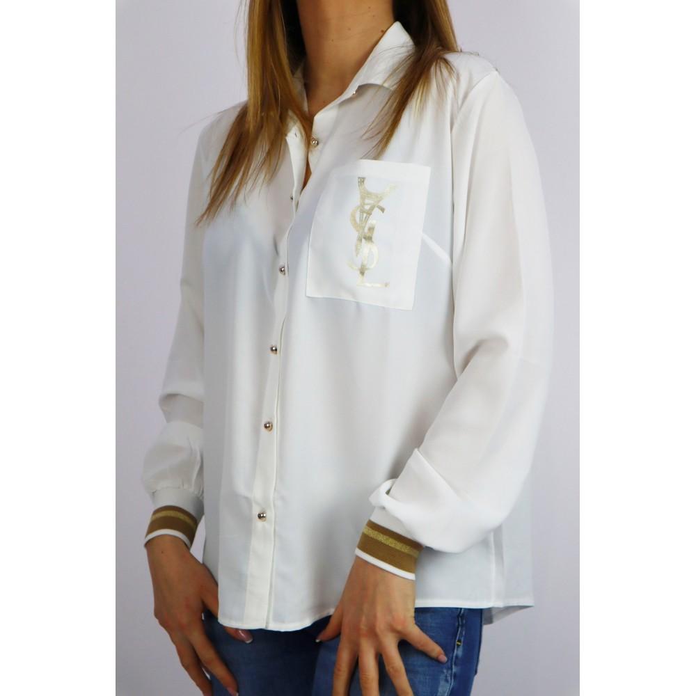 Koszula damska YSL ze ściągaczami w biało-złotej kolorystyce