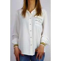 Koszula damska CHANGE ze ściągaczami w biało-złotej kolorystyce
