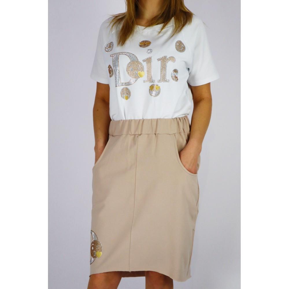 Komplet damski DOR bluzka i spódnica w kolorze beżowym