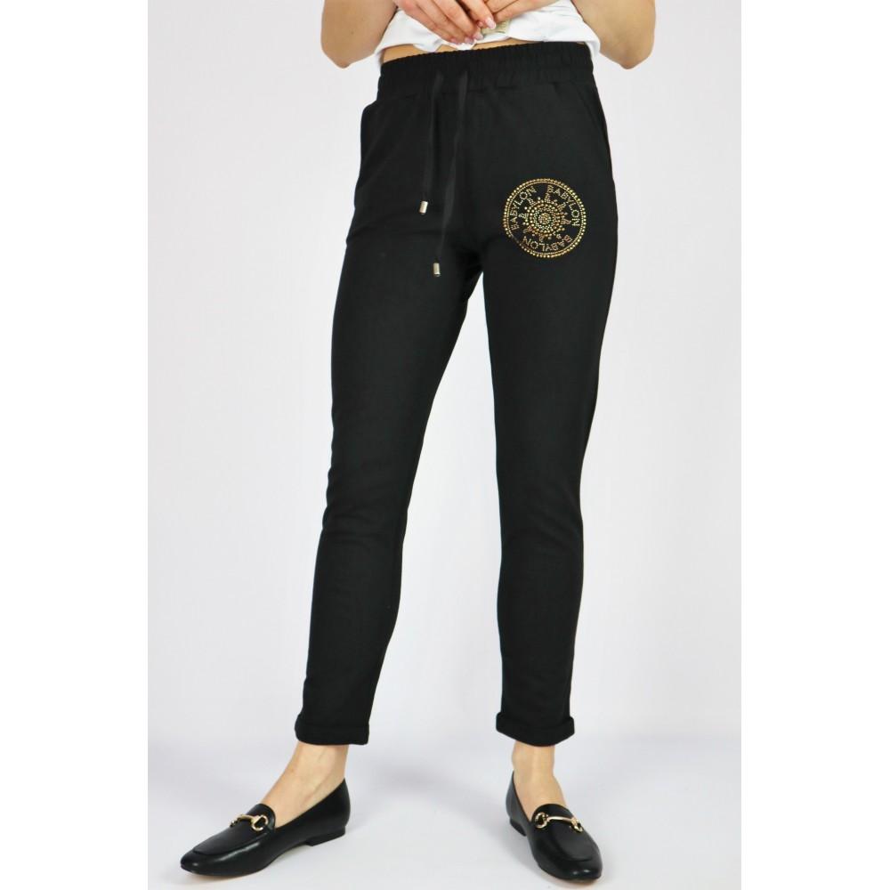 Spodnie dresowe damskie Babylon czarne z grafiką