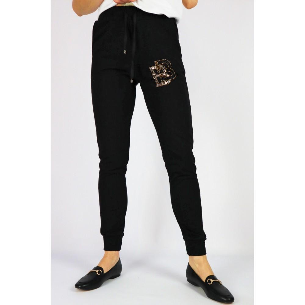 Spodnie dresowe damskie Babylon czarne dopasowane