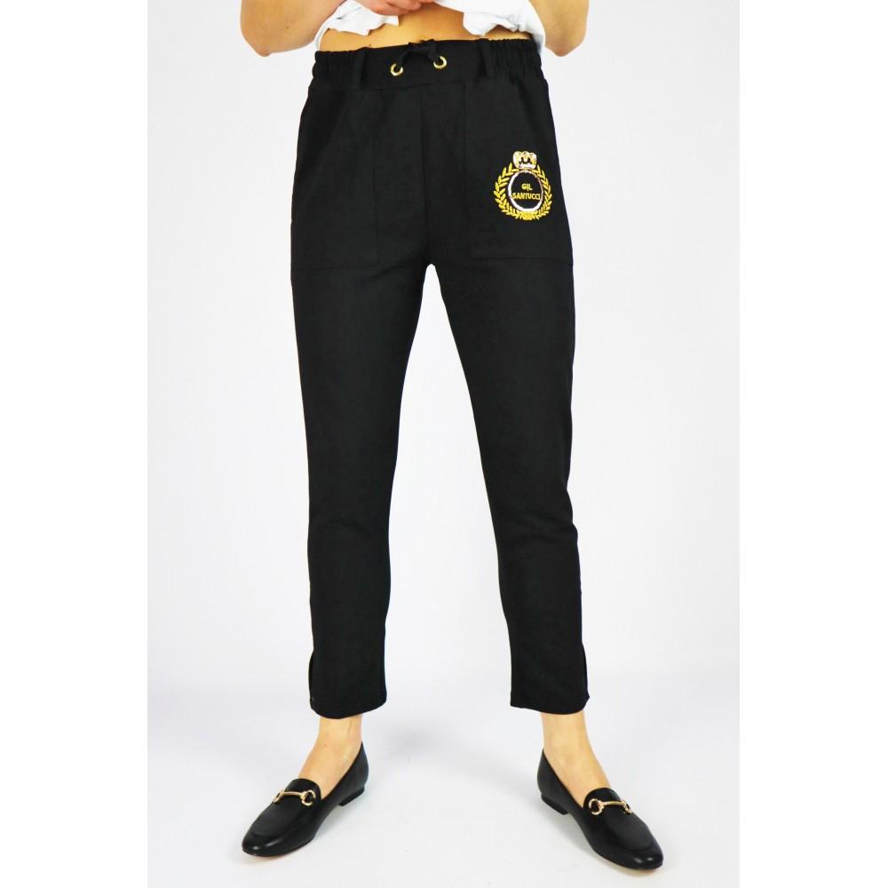 Dresowe damskie spodnie Babylon z grafiką i sznurowaniem w pasie