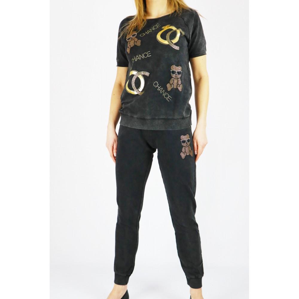 Komplet dresowy damski szary ze złotymi grafikami i krótkim rękawem