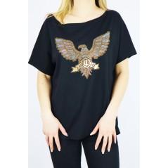 T-shirt oversize damski ze złotym orłem