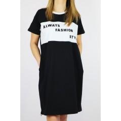 Sukienka damska czarno-biała z napisami ALWAYS FASHION STYLE