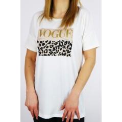 T-shirt damski VOGUE oversize z panterkową wstawką