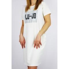 Sukienka damska biała z grafiką LU JO