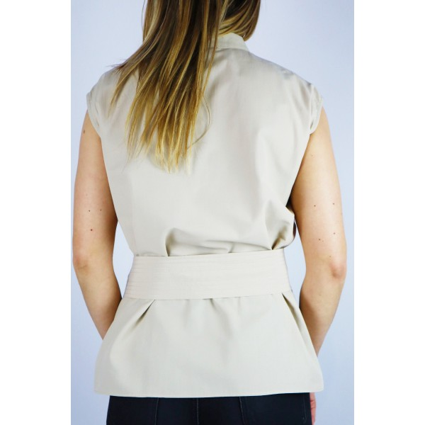 Beżowa bluzka damska z wiązaniem i dekoltem V