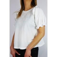 Biała damska bluzka z koszulowymi wstawkami i ażurowymi akcentami