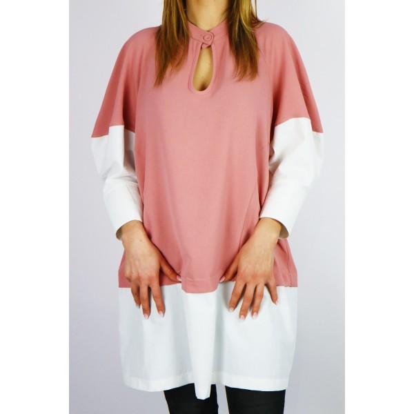 Różowa tunika sukienka damska z wstawkami koszulowymi i łezką na dekolcie