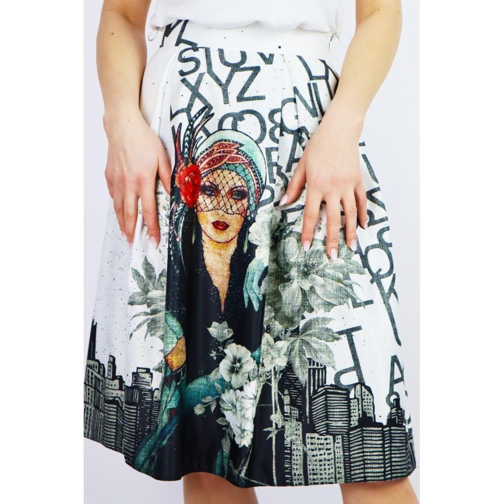 Spódnica damska Midi rozkloszowana z grafiką i napisami
