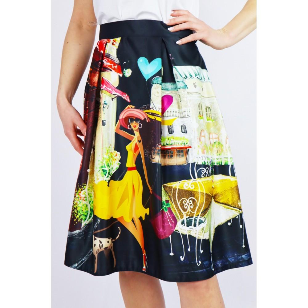 Damska midi spódnica czarna z bogatymi grafikami