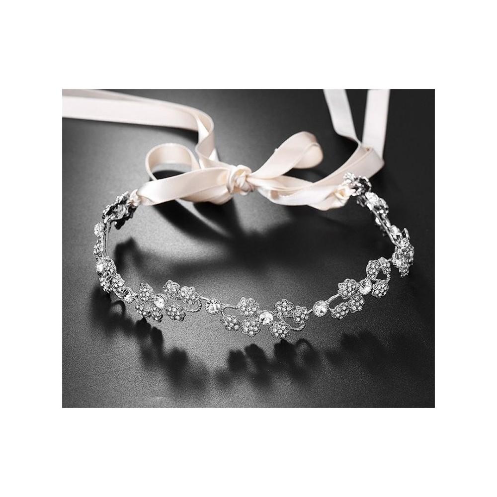 Opaska ślubna z kryształkami O142