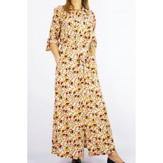 Maxi sukienka koszulowa damska beżowa w kwiatowe wzory