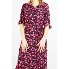 Maxi sukienka koszulowa damska czarna w kwiatowe wzory