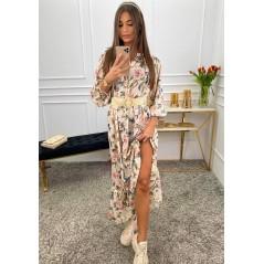 Maxi kwiatowa sukienka damska z guziczkami i bufiastym rękawem