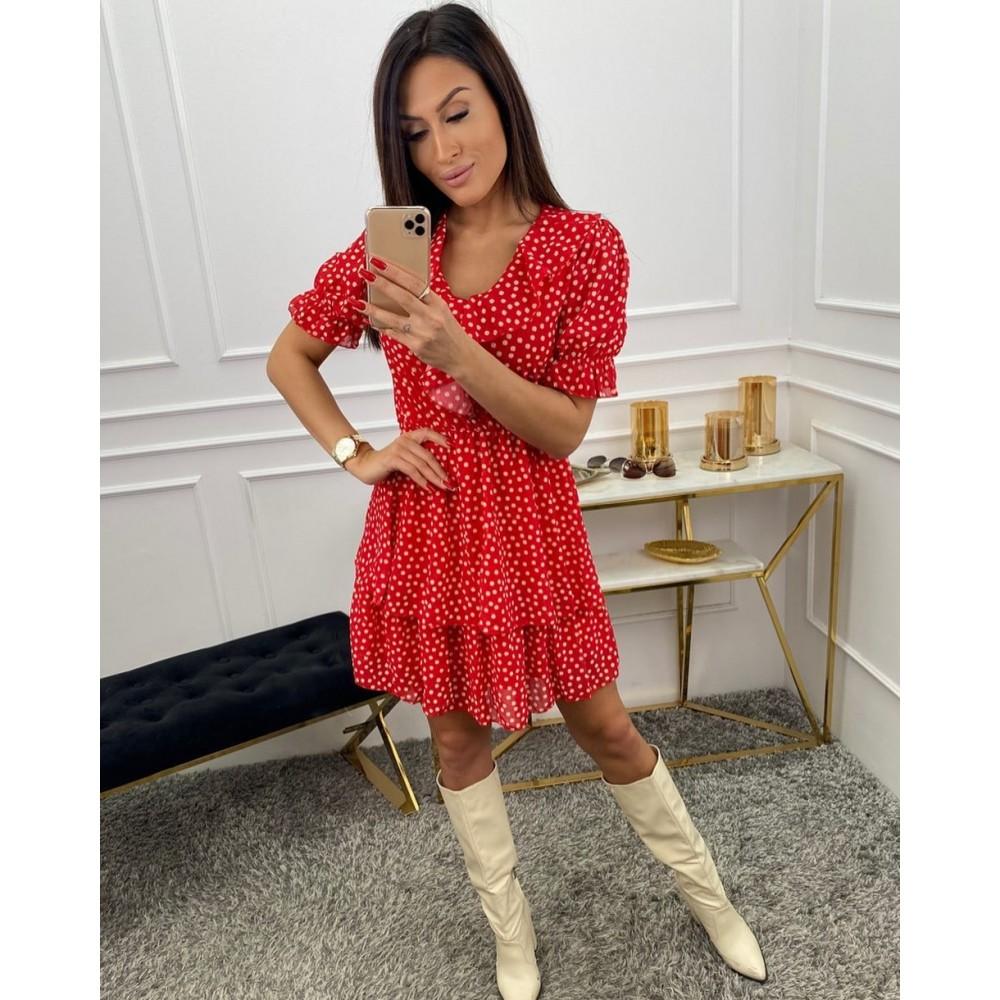 Czerwona damska sukienka rozkloszowana w stokrotki