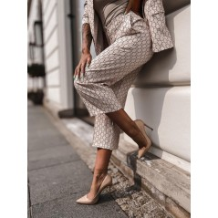 Garnitur Cocomore damski chanelkowy print marynarka spodnie