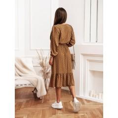 Sukienka w grochy Cocomore camelowa z rozcięciem