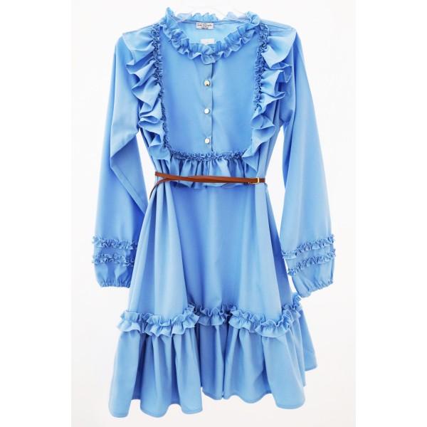 Koszulowa sukienka rozkloszowana z żabotem damska błękitna