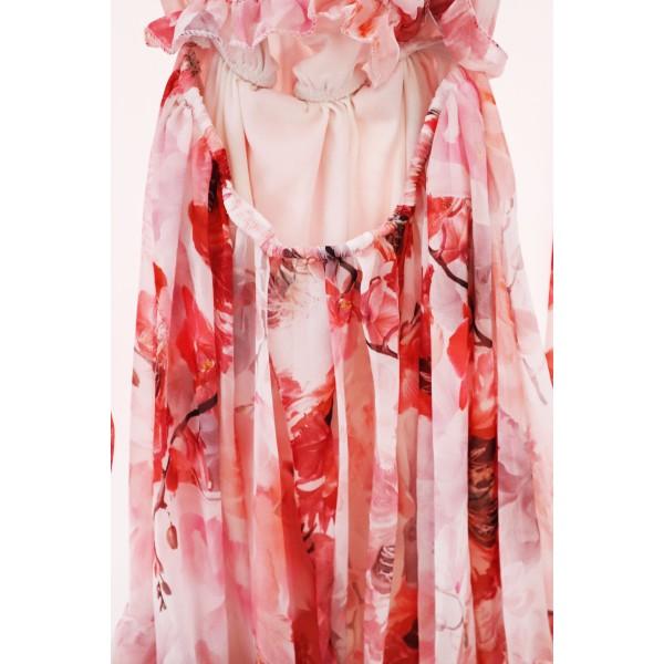Kwiatowa hiszpanka damska różowa kwiatowy print