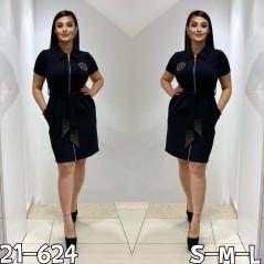 Welurowa sukienka damska rozsuwana z ozdobnymi dżetami