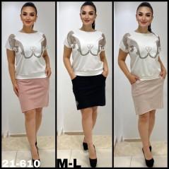 Komplet damski bluzka z dżetami i spódnica- 3 kolory do wyboru