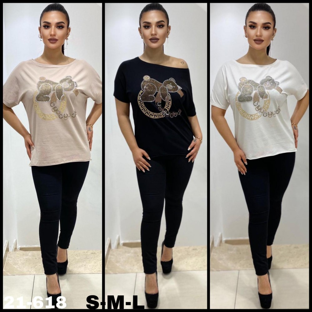 T-shirt damski z dżetowym misiem- 4 kolory do wyboru