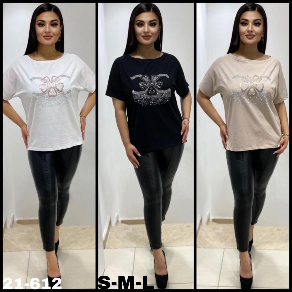 T-shirt damski oversize z dżetową grafiką kwiatka- 3 kolory do wyboru