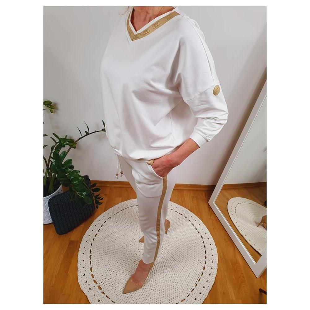 Bluzka damska biała ze złotą lamówką i suwakiem z tyłu