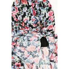 Spódnica midi czarna kwiatowa rozkloszowana damska