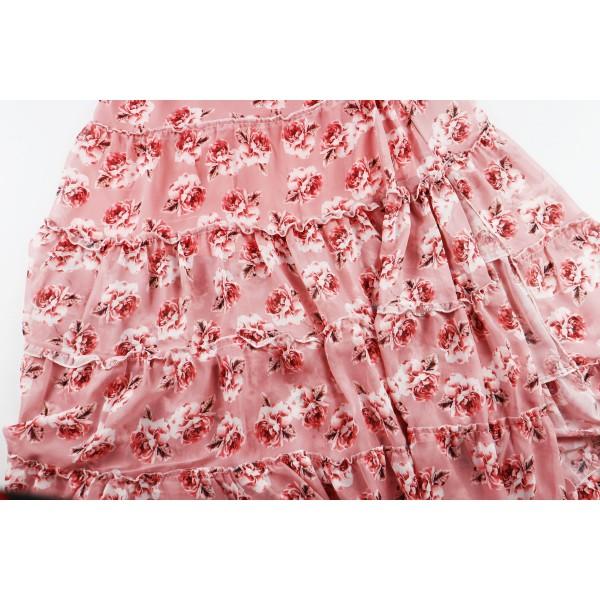 Spódnica midi różowa kwiatowa rozkloszowana damska