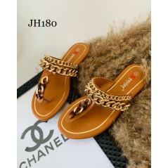 Japonki damskie brązowe ze złotymi łańcuchami