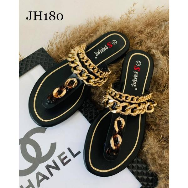 Japonki damskie czarne ze złotymi łańcuchami