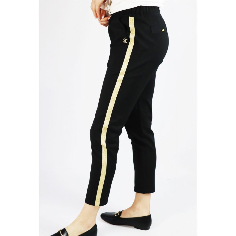 Spodnie damskie dresowe ze złotym lampasem