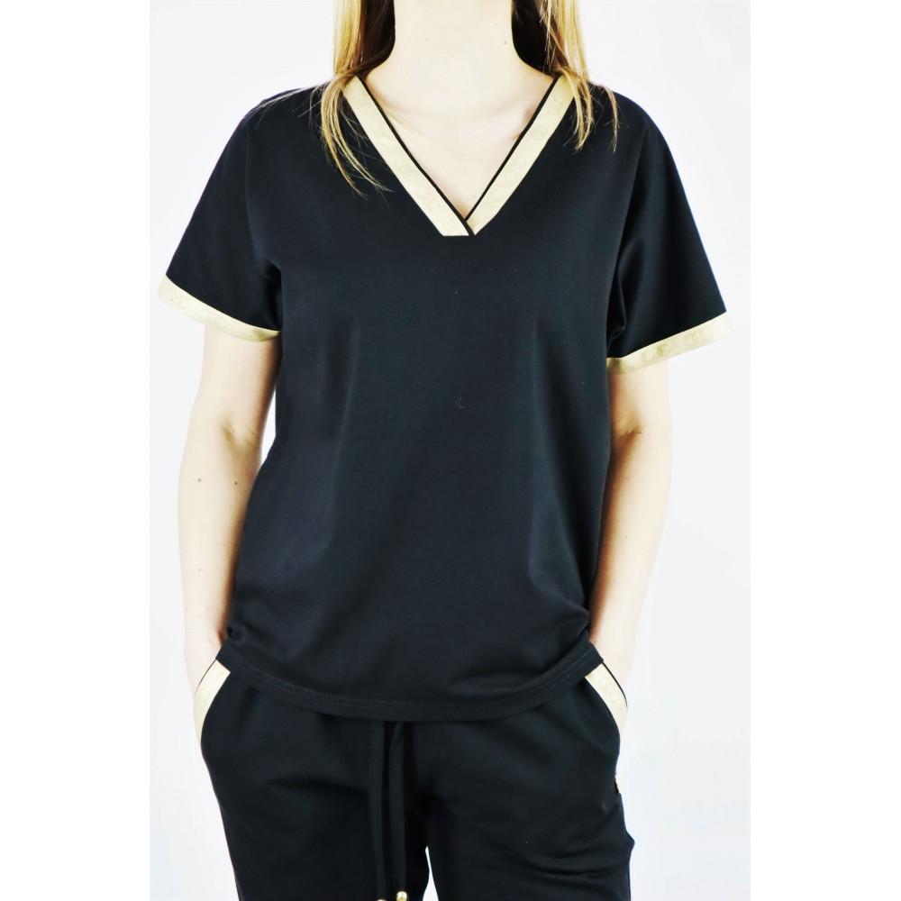 T-shirt damski czarny z krótkim rękawem i złotymi lamówkami